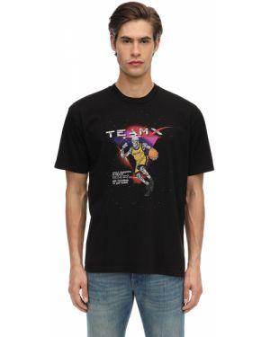 Prążkowany czarny t-shirt bawełniany Just Don