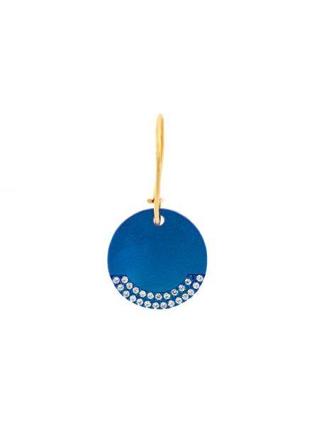 Синие серебряные серьги круглые с подвесками с декоративной отделкой Eye M By Ileana Makri