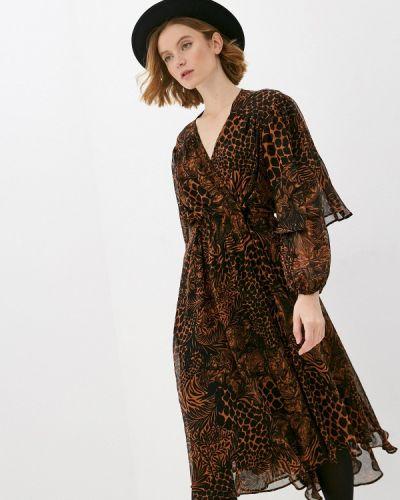 Коричневое прямое платье Topshop
