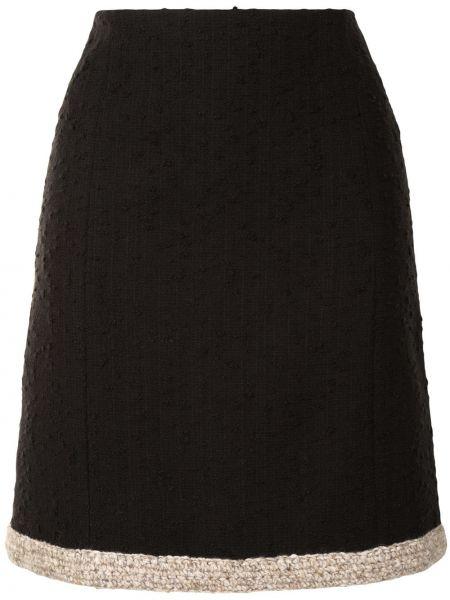 Хлопковая черная прямая с завышенной талией юбка мини Paule Ka