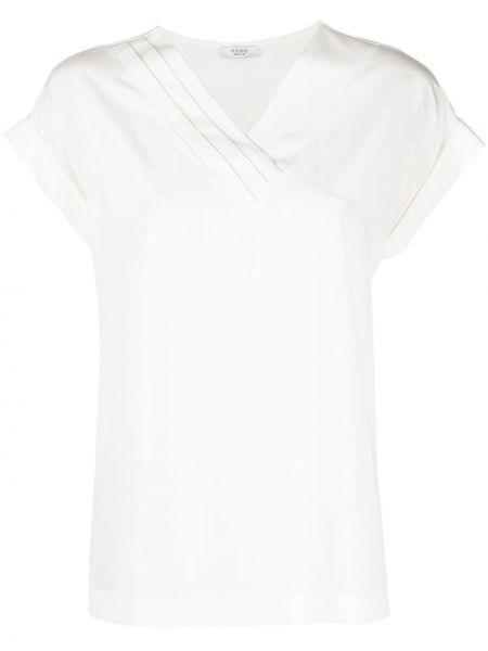 С рукавами шелковая белая блузка Peserico