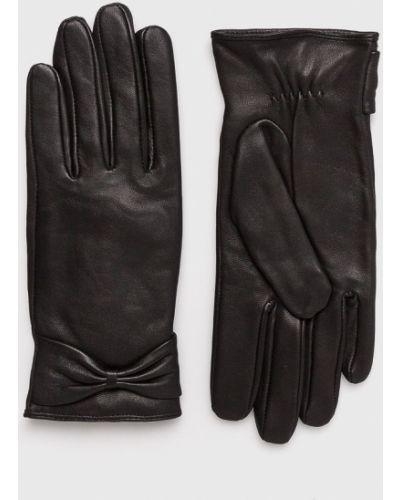 Черные кожаные перчатки Pieces
