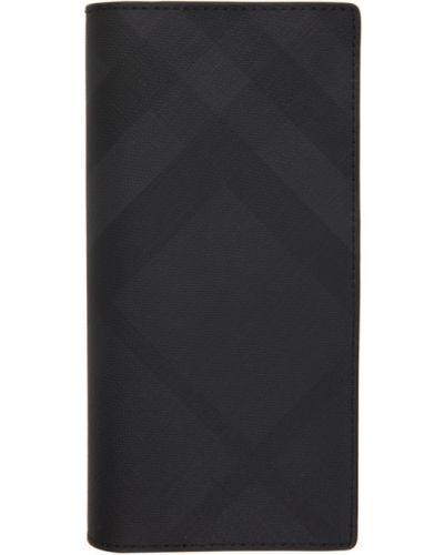 Черный кожаный кошелек для монет с подкладкой Burberry