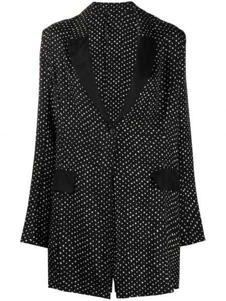Прямой черный удлиненный пиджак в горошек Masnada