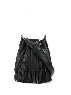 Шелковая черная кожаная сумка с бахромой на шнурках Tyler Ellis