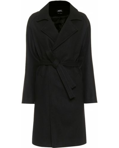 Черное шерстяное зимнее пальто A.p.c.