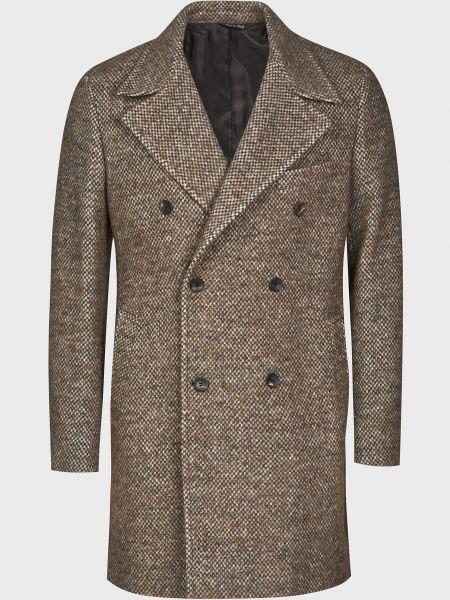 Коричневое шерстяное пальто на пуговицах Luca Bertelli