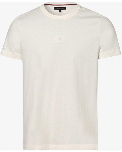 Beżowy t-shirt z haftem płaska podeszwa Tommy Hilfiger