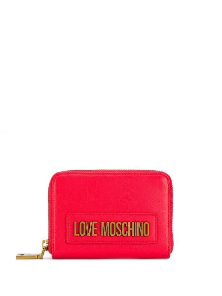 Золотистый красный кошелек на молнии Love Moschino
