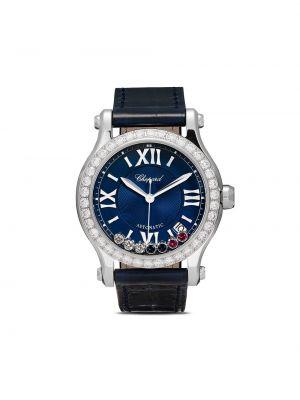 Спортивные кожаные серые часы спортивные круглые Chopard