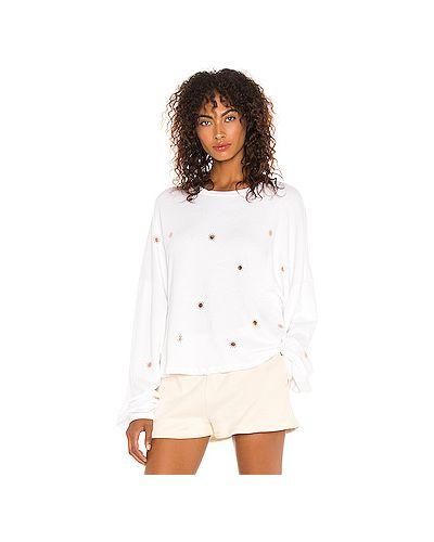 Мерцающий хлопковый белый свитер Michael Lauren