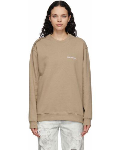 Biała bluza długa z długimi rękawami bawełniana Saintwoods
