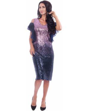 Вечернее платье розовое с пайетками Wisell