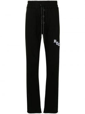 Czarne spodnie bawełniane z printem Rta