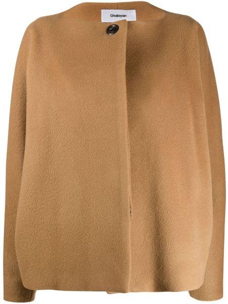 Шерстяной коричневый пиджак на пуговицах Chalayan