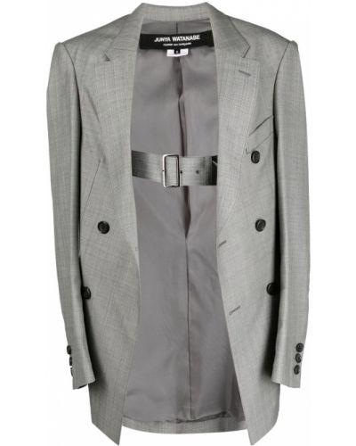 Серый удлиненный пиджак оверсайз с поясом Junya Watanabe