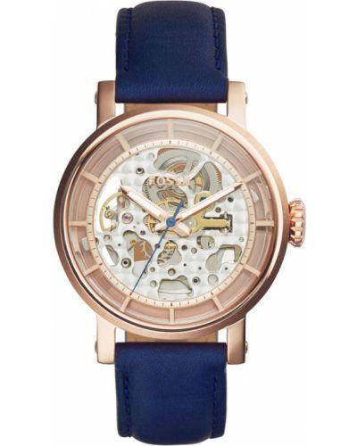 Niebieski zegarek kwarcowy skórzany z paskiem Fossil
