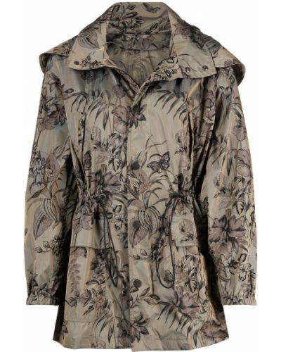 Czarny płaszcz przeciwdeszczowy z kapturem w kwiaty Etro