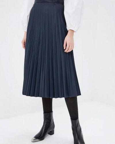 Плиссированная юбка синяя осенняя Zarina