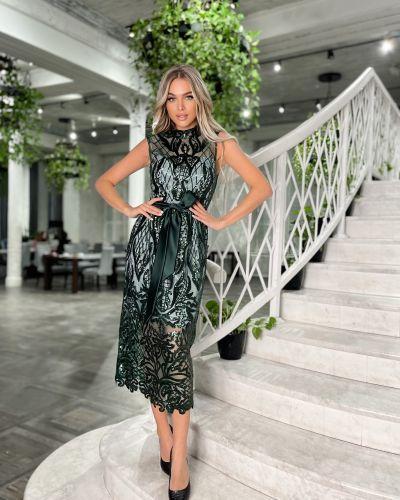 Кружевное вечернее платье - зеленое Odis