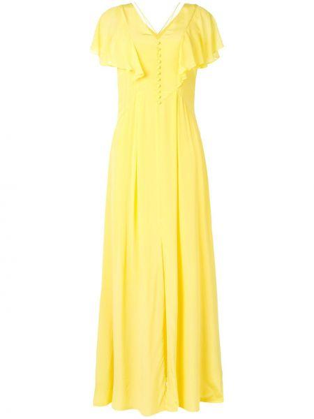 Желтое открытое шелковое платье мини Karl Lagerfeld