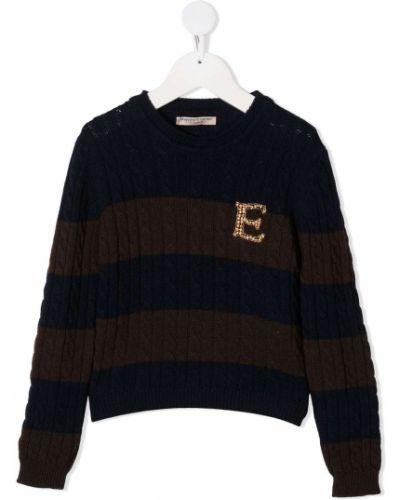 Коричневый кашемировый свитер с круглым вырезом круглый Ermanno Scervino Junior