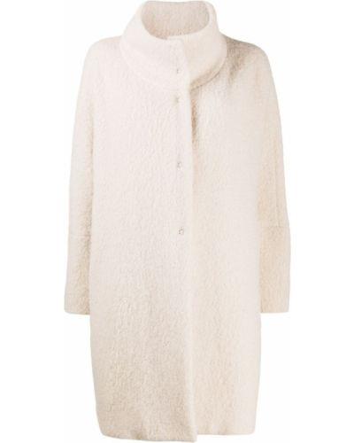 Белое пальто классическое из альпаки с воротником Antonelli
