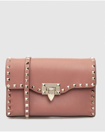 Светло-розовая кожаная сумка Valentino