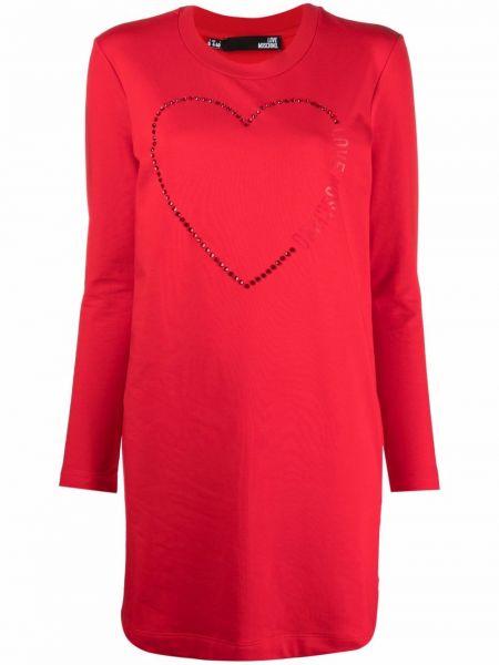 Красное платье с принтом Love Moschino