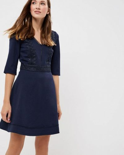 Синее платье с длинными рукавами Naf Naf