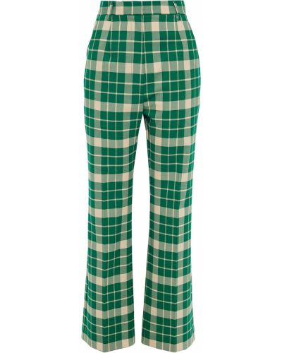 Zielone spodnie z paskiem rozkloszowane Mm6 Maison Margiela