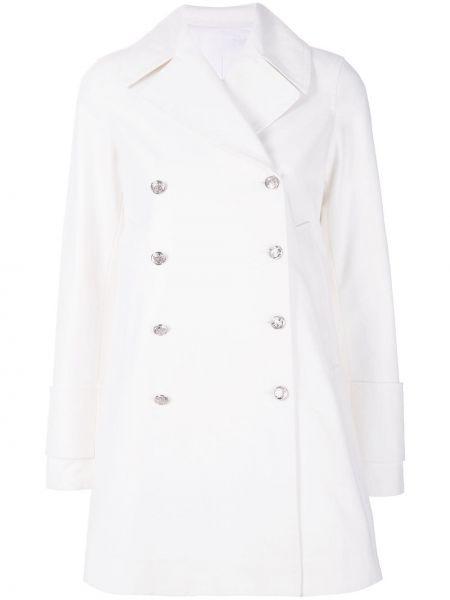 Белое пальто с капюшоном двубортное Calvin Klein 205w39nyc