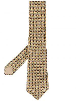 Prążkowany żółty szalik z jedwabiu Hermès Pre-owned