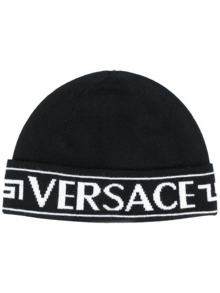 Шерстяная черная шапка бини с отворотом Versace