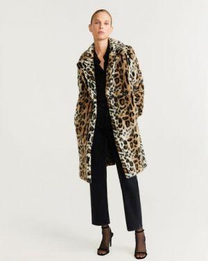 Пальто леопардовый с воротником Mango