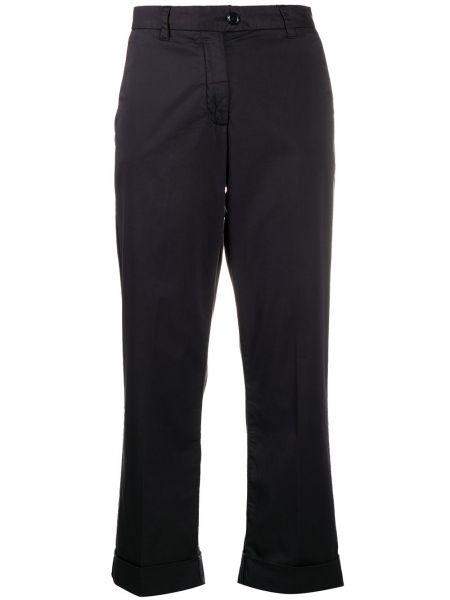 Хлопковые синие прямые укороченные брюки с высокой посадкой Woolrich