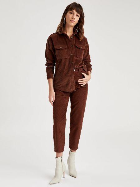 Коричневая рубашка с воротником-стойка на пуговицах Defacto