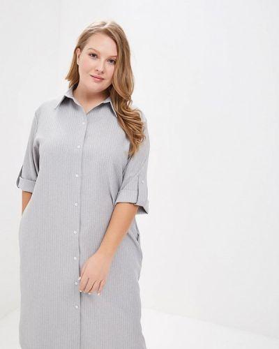 Повседневное платье серое осеннее Tutto Bene Plus