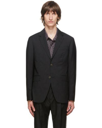 Черный пиджак с манжетами из мохера с карманами Tiger Of Sweden