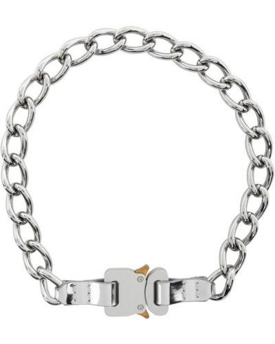 Кожаное серебряное ожерелье для полных с пряжкой 1017 Alyx 9sm