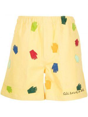 Żółte szorty bawełniane Bode