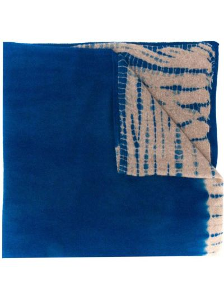 Кашемировый синий шарф двусторонний Suzusan