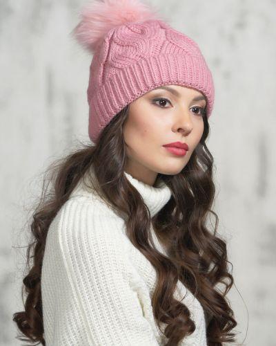 Розовая шапка шерстяная Vay