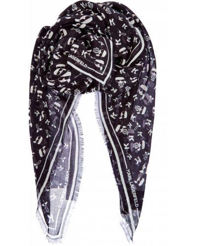 Тонкий черный шелковый платок Karl Lagerfeld