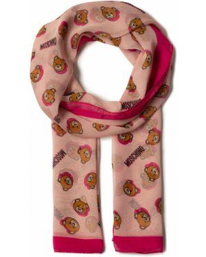 Różowa szal z jedwabiu Moschino