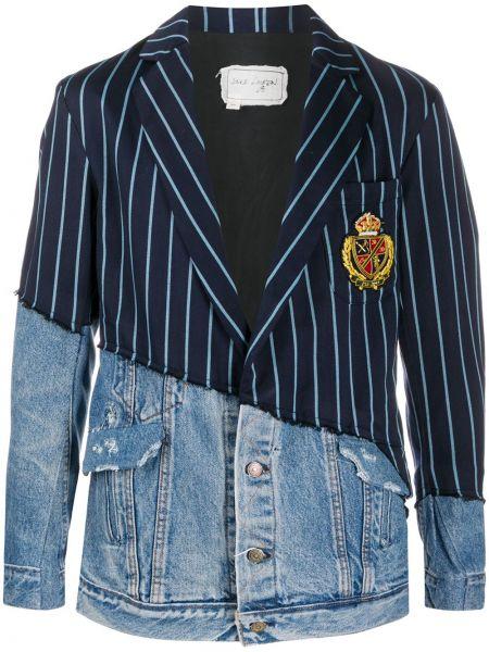 Niebieskie jeansy z haftem w paski Greg Lauren