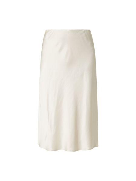 Beżowa spódnica midi rozkloszowana z wiskozy Someday