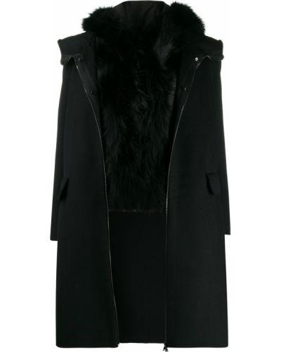 Шерстяное черное длинное пальто с опушкой S.w.o.r.d 6.6.44