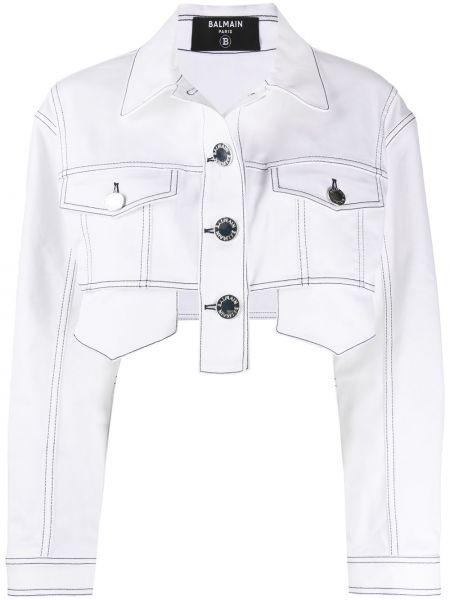 Белая джинсовая куртка на пуговицах с воротником с карманами Balmain