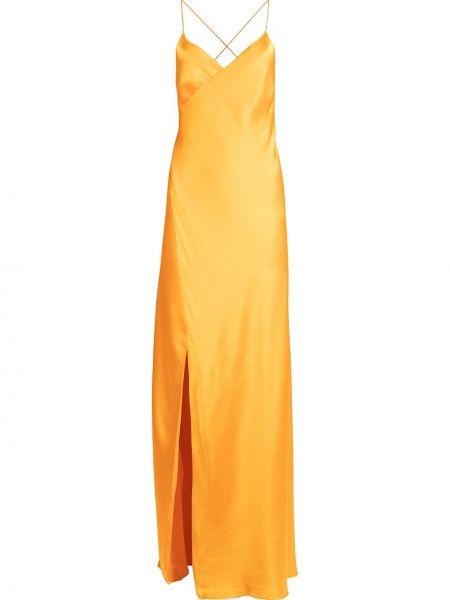 Открытое оранжевое сатиновое платье макси с открытой спиной Michelle Mason